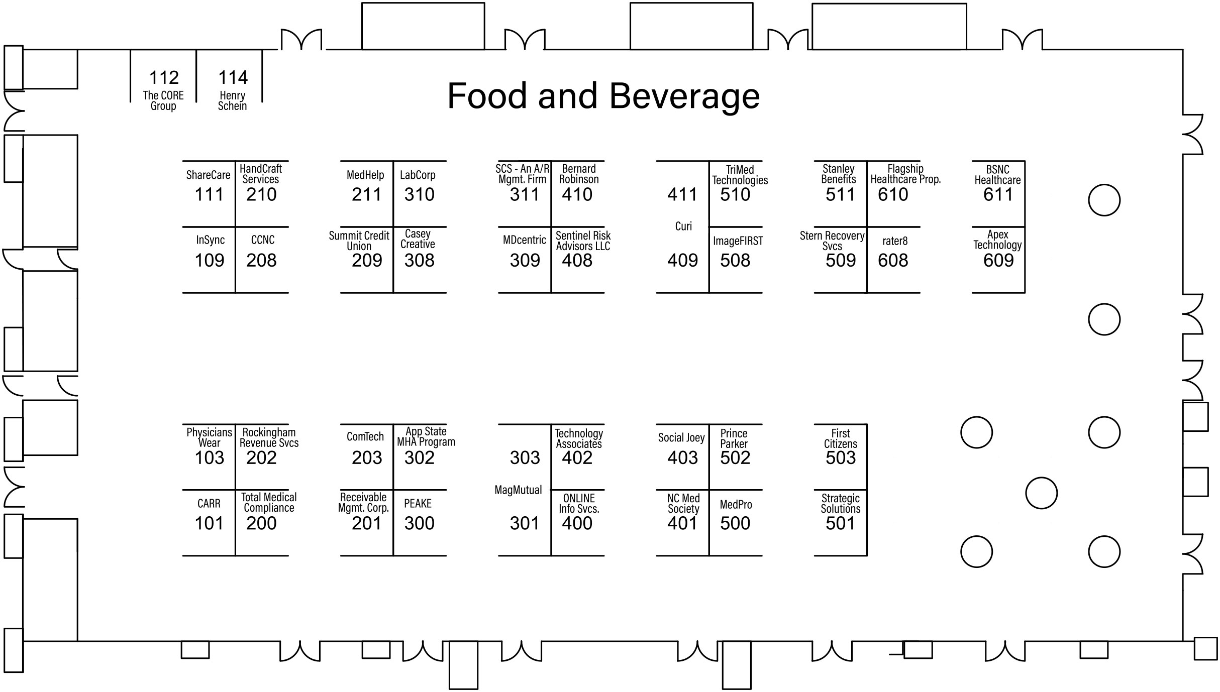 2021 Annual Conference Exhibit Hall Layout with Exhibitors